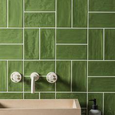 Norse Hunter Green Gloss Ceramic Tile | Mandarin Stone White Subway Tile Bathroom, Bathroom Wall, Small Bathroom, Mandarin Stone, Chevron Tile, Natural Stone Flooring, Tiles Online, Ceramic Wall Tiles, Stone Tiles