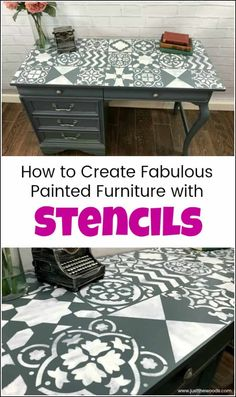 Create a painted furniture masterpiece by adding unique stencil patterns from Cutting Edge Stencils. Large wall stencils work great for furniture makeovers. Furniture Update, Diy Furniture Projects, Diy Wood Projects, Furniture Makeover, Woodworking Projects, Fine Woodworking, Furniture Cleaning, Furniture Nyc, Cheap Furniture