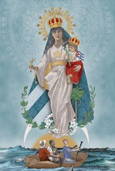 Our Lady of Charity of El Cobre / Nuestra Señora la Virgen de la Caridad del Corbre, Patrona de Cuba // Illustration by Ana Lense Larrauri I Love You Mother, Mother Mary, Mother And Child, Orisha, Madonna, Hail Holy Queen, Our Lady Of Sorrows, Light Of Christ, Cuban Art