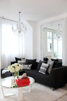Enchanting Black Sofas for Modern Living Room Decoration: Wondrous Contemporary Living Room With Black Sofas Several Grey Pillows And Beauti...