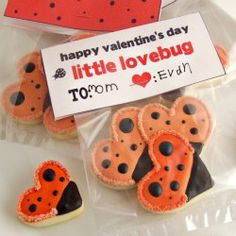 love bug cookies out of hearts -- so cute!