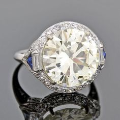 Late Art Deco Platinum Diamond Engagement Ring - June 22 2019 at Engagement Ring Buying Guide, Vintage Engagement Rings, Vintage Rings, Diamond Engagement Rings, Art Deco Diamond, Art Deco Ring, Art Deco Jewelry, Fine Jewelry, Vintage Diamond