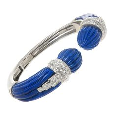 1980s David Webb Lapis Diamond Gold Cuff Bracelet 16500$