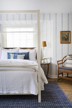Wallpaper: Schumacher's Katsura Stripe Bed: The Mine Blue rug: Annie Selke Duvet cover: Pine Cone Hill Coverlet: Pine Cone Hill Ceiling Fan: Haiku Home Floor lamps: Bellacor Table lamp: Bellacor Bench: The Mine Arm chair: The Mine Tray: The Mine Bedroom Sitting Room, Bedroom Bed, Guest Bedrooms, Bedroom Furniture, Bedroom Ideas, Sitting Rooms, Bedroom Inspiration, Guest Room, Master Bedroom