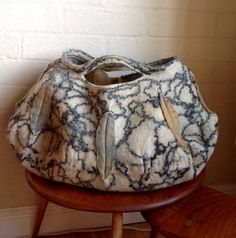 Oversized Hand felted tote bag - Natural white grey mustard felted wool purse tote handbag...made to ordermOOAK fibre Art to Wear