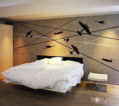 Battle Planes - 011- Vinyl sticker wall decal children playroom. $69.50, via Etsy.
