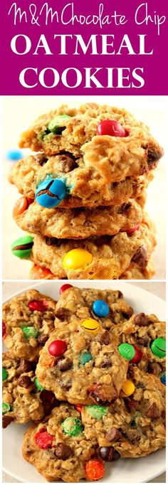M&M Chocolate Chip Oatmeal Cookies Recipe - soft and chewy oatmeal cookies packed with gooey chocolate chips and colorful M&M's!