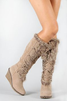 Pom Pom Fur Lace Up Wedge Boot Vegan Taupe