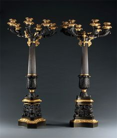 Imposing Pair of Regency Six Branch Patinated and Gilt Bonze Candelabra. Candelabra, Candlesticks, Lamps, Table Lamp, Vase, Furniture, Home Decor, Candle Holders, Lightbulbs