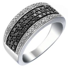 Sterling Silver Black and White Diamond Ring (3/4 CT) In Size 7by FineDiamonds9 - See more at: http://blackdiamondgemstone.com/jewelry/sterling-silver-black-and-white-diamond-ring-34-ct-in-size-7-com/#sthash.H6vkRizo.dpuf