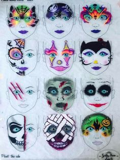 When you think about face painting designs, you probably think about simple kids face painting designs. Many people do not realize that face painting designs go beyond the basic and simple shapes that we see on small children. Halloween Face Paint Designs, Face Painting Designs, Painting Patterns, Mask Face Paint, Face Paint Makeup, Adult Face Painting, Body Painting, Theme Halloween, Halloween Makeup