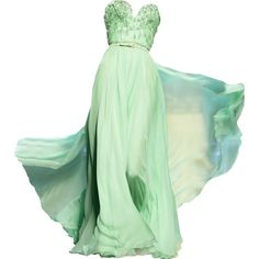 Satinee's collection - Dior found on Polyvore featuring dresses, gowns, vestidos, long dresses, green gown, green evening gown, long green evening dress and green ball gown