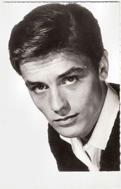Alain Delon. French postcard by Editions P.I., no. 936, offered by Les Carbones Korès 'Carboplane. Photo: Sam Lévin.