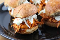 BEST sliders ever! So bag frozen chicken breast tenderloins, 1 bottle any buffalo sauce, 1 stick butter-throw into crock pot for a couple hours-shred chicken. I like to use kaiser or ciabatta rolls. Top with shredded jack cheese! Crockpot Recipes, Chicken Recipes, Sausage Recipes, Buffalo Chicken Sliders, Beef Sliders, Slider Recipes, Breaded Chicken, Football Food, Game Day Food