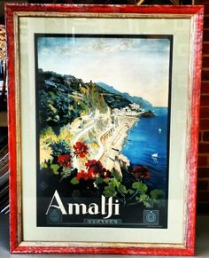 Vintage travel poster of Amalfi Coast by Mario Borgoni   Framed by FastFrame of LoDo.
