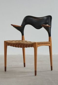 Anonymous; Beech; Teak, Leather and Paper Cord Armchair, 1950s.