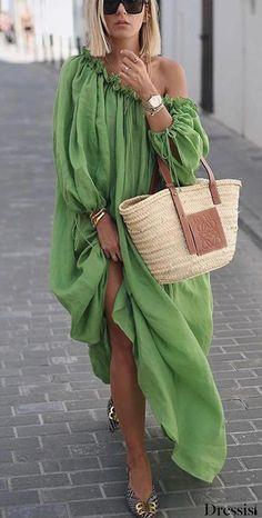 Lace-Up Oblique Collar Lantern Sleeve Plain Womens Maxi Dress - Look Fashion Casual Dresses, Fashion Dresses, Loose Dresses, Women's Casual, Summer Maxi Dresses, Green Dress Casual, Casual Clothes, Cheap Clothes, Fall Dresses