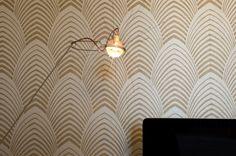 table lamp + wallpaper