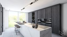 kitchen dark wood www. Kitchen Island Size, Sally's Kitchen, Kitchen Wall Cabinets, Kitchen Living, Modern Kitchen Interiors, Contemporary Kitchen Design, Bespoke Kitchens, Beautiful Kitchens, Home Kitchens