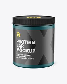 Showcase your work with this high-quality mockup of a glossy protein jar. The item is presented in a high-angle shot. High Angle Shot, Bottles And Jars, Sports Nutrition, Creative Words, Cool Artwork, Mockup, Packaging Design, Your Design, Protein