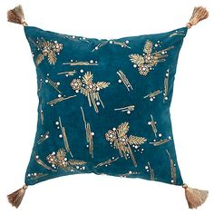 This pillow is to a room what an amazing statement necklace is to an outfit. This pillow features hand chord embroidery and hand beading using both pearls and gold colored seed beads. Pillow Set, Throw Pillow Covers, Cotton Velvet, Cotton Lace, Velvet Pillows, Dark Teal, Accent Pillows, Decorative Throw Pillows, Abstract