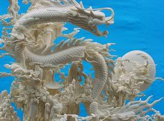 Dragon Carving, Dragons Rising From the East Carving Handmade in China  Hand Crafted Cattle bone Dragons Carving (Not Ivory)