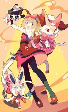 pokemon pokemon species serena (pokemon) sylveon braixen pancham pixiv id 4280606 high resolution very high resolution black legwear black pantyhose blonde blue eyes blush bow dress female full body gloves hair bow hair ornament hat megane open mouth pantyhose pink bow quartet red eyes red footwear shoes short hair smile sunglasses white gloves white handwear white hat white headwear png conversion