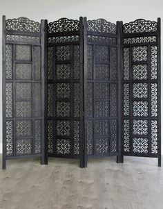 Carved Wooden Four Panel Moroccan Style Screen Moroccan Design, Moroccan Decor, Moroccan Style, Moroccan Room, Moroccan Furniture, Moroccan Interiors, Changing Screen, Changing Room, Folding Screen Room Divider