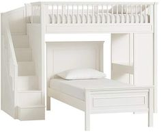Bunk Beds With Stairs, Full Bunk Beds, Kids Bunk Beds, Full Bed, Loft Beds, Teen Bedding, Bedding Sets, White Bedding, Bedding Storage