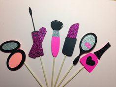 Spa Party Decorations, Makeup Party - Glam Girl Glitter Cupcake Toppers by BirdInACageCreations on Etsy https://www.etsy.com/listing/235729256/spa-party-decorations-makeup-party-glam
