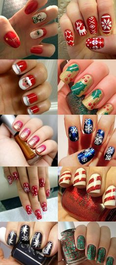 Unhas Decoradas Para O Natal Galeria Christmas Nails regarding The Nail Art Tema Natal - Fashion Style Ideas Cute Christmas Nails, Christmas Nail Art Designs, Xmas Nails, Best Nail Art Designs, Holiday Nails, Christmas Mom, Winter Nail Art, Winter Nails, Love Nails