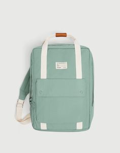 Turquoise fabric backpack with a front pocket, zip closure, a top carry handle, adjustable shoulder straps and an inside pocket. Height x Length x Width: 35 x 26 x 12 cm. Pull & Bear, Cute Backpacks For School, Trendy Backpacks, Fashion Bags, Fashion Backpack, Denim Tote Bags, Back Bag, School Bags, Travel Bags
