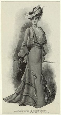 """A spring gown in light cloth"" from 1902. I love both the sleeves and the skirt details."