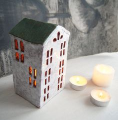 Candle Holder-Ceramic House-Tealight Holder-Candle by Vsocks | little house
