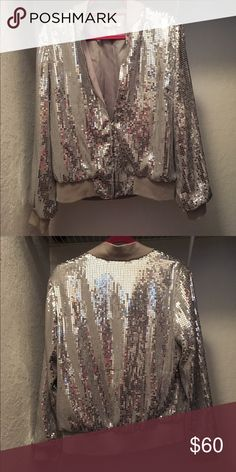 WD.NY Silver Sequin Jacket Worn a few times but in excellent condition, no rips or stains, no sequins missing  Reasonable offers considered WD.NY Jackets & Coats