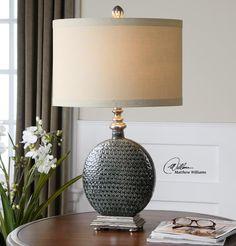 Uttermost Lamps Salinger Gray Ceramic Table Lamp - Hudson's Furniture - Table Lamp Tampa, St Petersburg, Orlando, Ormond Beach