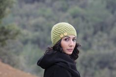 Women Crochet Beanie Hat with alpaca yarn Green by SENNURSASA, $25.00