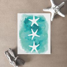 Aqua Watercolor Starfish Trio Print