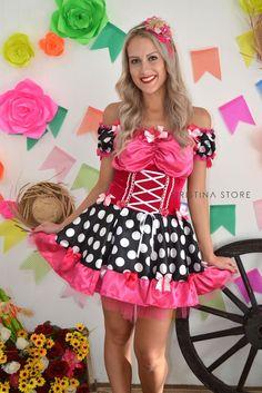 Vestido Poá/Pink Julia - Caipira Chic - Cristina Store