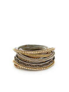Bronze Leather & Chain Wrap Bracelet by Presh on Gilt.com