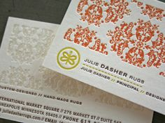 Beautiful patterns for a textile designer's business card. Designed by Laurie DeMartino.