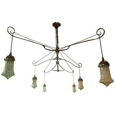 Exceptional Arts and Crafts Dining or Snooker Table Light by W A S Benson | From a unique collection of antique and modern more lighting at https://www.1stdibs.com/furniture/lighting/decorative-lighting-lamps/