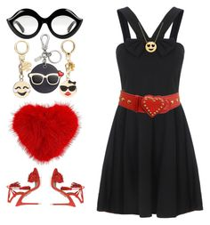 """""""Dress with Heart 💓"""" by krgood7 ❤ liked on Polyvore featuring Gucci, Moschino, Kate Spade, Anya Hindmarch, Aquazzura, Jane Basch, Killin and emojifashion"""