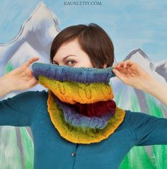 Cowl knitted with Kauni yarns