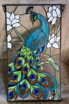 Stained glass abstract Peacock