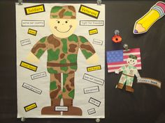 I made this soldier poster, poppy flower, and soldier project for Memorial Day. The kids loved it all, but also took it seriously =) (A few even told me randomly at the end of the day that they loved me and wore the poppy to honor my brother who is a fallen hero - his picture is on my desk. How sweet!)