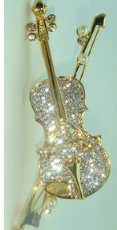 Violin Pin Music Teacher Brooch, Pearl Swarovski Rhinestone Austrian Crystal