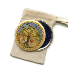 Celtic Forest Pocket Handbag Mirror in Cotton by RieDesigned