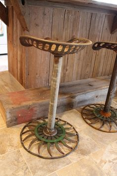custom barstools out of old tractor seats made by my hubby www.ReInventedStyle.blogspot.com