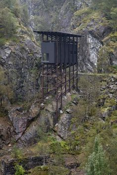 Completed in 2016 in Sauda, Norway. Images by Per Berntsen . Allmannajuvet in Sauda and the abandoned zinc mines from the late have inspired architect Peter Zumthor to create yet another historical art. Ideas Cabaña, Pavillion, Contemporary Architecture, Norway, House Design, House Styles, Recipes Dinner, Dress Models, Houses